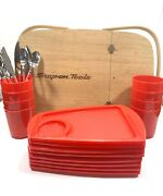 Peterboro Snap On Tools Picnic Basket With Snack Plates Cups And Utensils