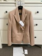 Balmain Wool Blazer W/gold Buttons - 36 - Nude - New W/tag And Receipt Rrp 2750