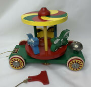 Vintage Brio Sweden Merry-go-around Wooden Pull Toy Bright Primary Colors