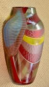 New Afro Celotto Handblown Murano Glass Vase With Certification...venice...italy