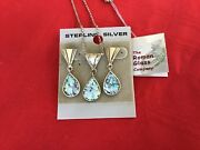 Roman Glass Co. Necklace And Earring Sterling And Glass Set