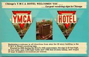 Chicago Il Ymca Hotel Largest Revolving Sign In Chicago Multi-view Postcard