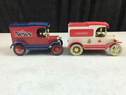 2 - Vintage Ertl Ford T Detroit News Canada Delivery Trucks Cast Metal Coin Bank