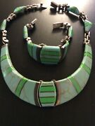 Vtg Mexico Sterling Silver 950 Gaspeite Panel Link Necklace And Bracelet 195 Grams