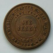 1868 Masonic One Penny Americus Chapter No 215 Ram New York Ny Instituted Token