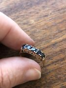 Antique 10k Yellow Gold Sapphire Anniversary Ring Estate Size 6