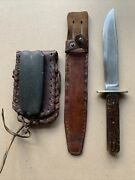 Vintage Xlnt Bowie/combat Knife W/original Sheath And Sharpening Stone