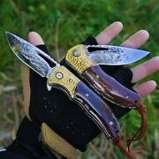 Exquisite Vacuum Heated Vg 10 Damascus Steel Collectible Pocket Folding Knife