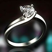 Real Gia Certified Round Cut Diamond Solitaire Engagement Ring 0.70 Carat 14k