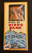 Vintage Litho Wind-up Tin Hippo Mechanical Bank - Made In Japan By Ahi