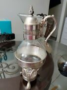 Vintage Silver Plate And Glass Coffee / Tea Carafe Pitcher With Warmer Stand Bnos