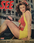See July 1944 Vtg Magazine Esther Williams Cover - Axis Ww2 Invasion Navy - Vg