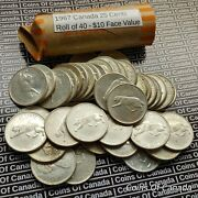 One Roll Of Circulated 1967 Canada Silver Quarters 10 Face Value Coinsofcanada