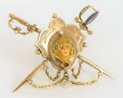 Antique Beautiful 14k Yellow Gold Fine Royalty Queen Sword Brooch Jabot Pearl