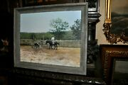 Powerful Americana Cowboy With Horse And Calve Signed