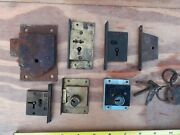 Vintage Old Antique Brass And Iron Cabinet Cupboard Locks No Keys Job Lot Untested