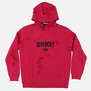 Givenchy Cherry Destroyed Logo Hoodie | Size L Regular Fit Ss18 Rrp 1350