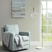 Luxury Gold Floor Lamp W/bell-shaped Glass Shade