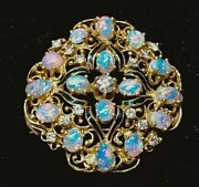 Aituzzi Jewelry Stunning 14k Gold Opal And Diamond Pendant Or Brooch See Video