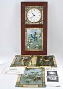 Rare Danbury Mint Stained Glass Songbirds Of The Season Wall Clock Lighted