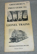 Vintage Lionel Trains Price List Guide Book Greenbergs Pre And Post War 1901-1983
