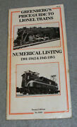 Vintage Lionel Model Trains Price List Guide Book Greenbergs Pre And Post War 1985