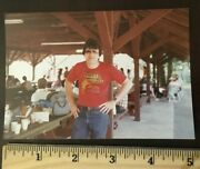 Vintage Photo Picture Of A Guy At A Picnic Wearing Mabels Whore House T Shirt 83