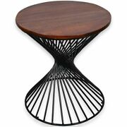 Favors Handicraft 20 Round Wood Top Industrial Side Table In Antique Brown