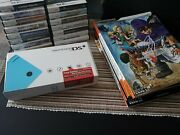 Nintendo Dsi Light Blue System + 15 Rpg / Strategy Game Lot And Guides