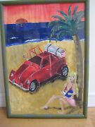 Oil Painting Elegant Young Lady Island Vacation Beach Palm Tree Car Signed Art