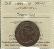 1895 Large Cent Iccs Ms-62 Trace Red Beautiful Scarce Date Victoria Canada Penny