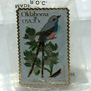 ✨new✨ Vintage Oklahoma 20c Usa Stamp Scissortail The March Co.1982 Pin Pinback