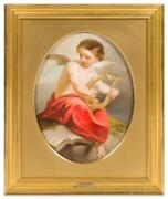Old Master 18th Century French School Angel With Lyre Oil Painting