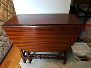 Antique Early Cherry Drop Leaf Spindle Legs Table Console Dining Sofa Vintage