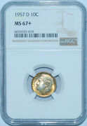 1957 D Ngc Ms67+ Roosevelt Silver Dime