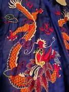 Vintage 1945 Chinese Silk Golden Dragon Robe Front And Back Embroidery Bought Wwii
