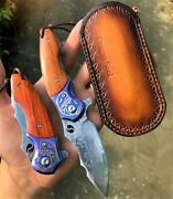 Exquisite Handmade Forged Vg 10 Damascus Steel Collectible Pocket Folding Knife