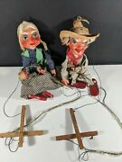Pair Of Mexican Hispanic Marionette String Puppet Set Vintage 1960s