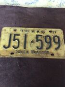 Texas 1971 License Plate Truck Tractor  Used Uncleaned Plate As Is
