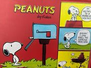 Vintage Peanuts By Schulz Red Vinyl Lunchbox Snoopy Charle Brown W/ Thermos