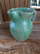 North Carolina Pottery Hand Made Pitcher Signed Bolick Green 6 1/2 Tall And 4