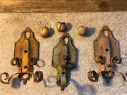 Three Antique Lincoln 904 Wall Sconce Light Cast Iron Circa 1900and039s Salvaged
