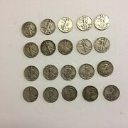 Walking Liberty Silver Half Dollar Roll 10 Face Value 20 Coins Mixed Dates