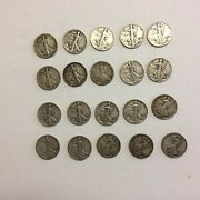 Walking Liberty Silver Half Dollar Roll, 10 Face Value, 20 Coins Mixed Dates