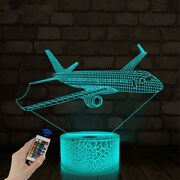 Airplane Night Light 3d Illusion Led 16 Color Table Lamp Childrenand039s Boy Room
