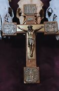 Large Vintage Wood Carved Crucifix From Germany - Lat Rites Odd And Rare Oddities