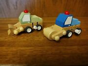 Wooden Wind-up Toy Trucks - Lot Of 2 - Bulldozer And Roller