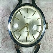 Geneva 17 Jewels Silver Tone Cuff 25x30 Winding Watch Winding And Domed Crystal