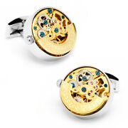 Ox And Bull Trading Co. Gold And Silver Kinetic Watch Movement Cufflinks