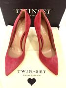 Twin-set Simona Barbieri Cleavage Pumps Shoes Leather Red New Box